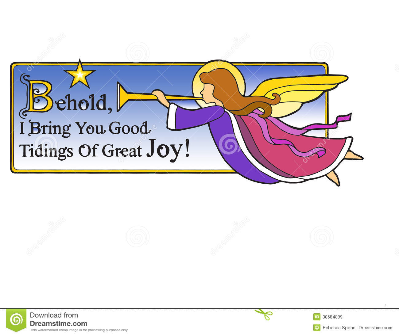 Christmas Angel Behold stock illustration. Illustration of trumpet ...