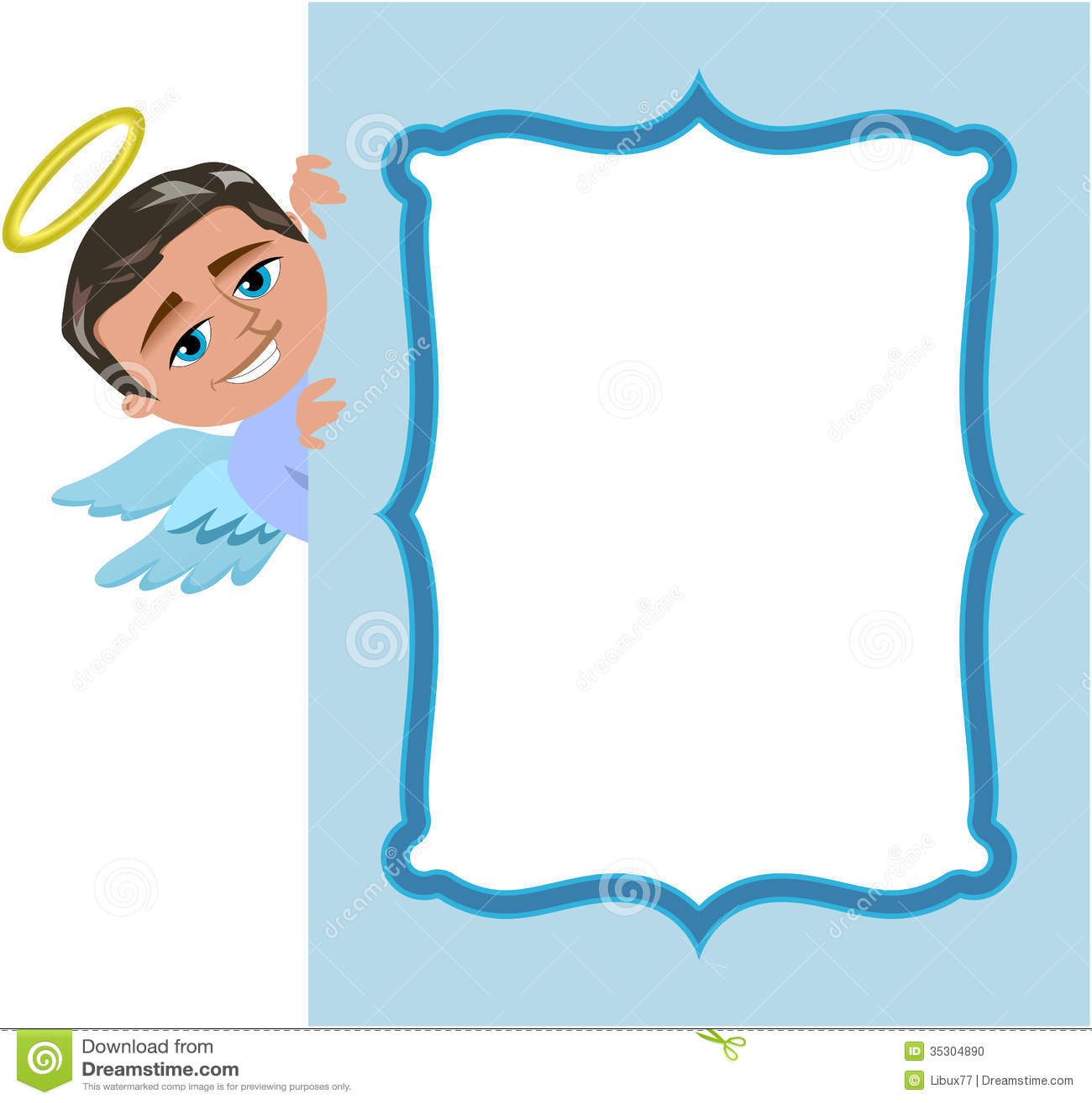 Christmas Angel Boy Frame stock vector. Illustration of ...