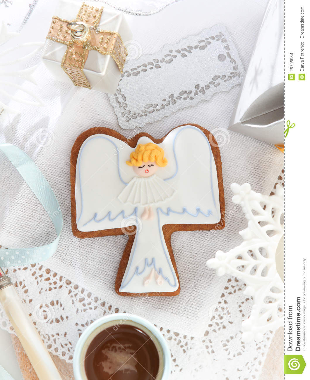 Christmas Angel Cookies On The White Background Stock Photo Image
