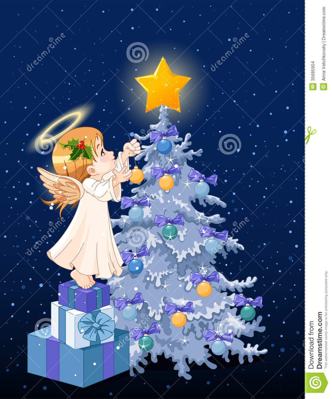 Christmas angel stock vector illustration of fairytale for Angel christmas tree decoration