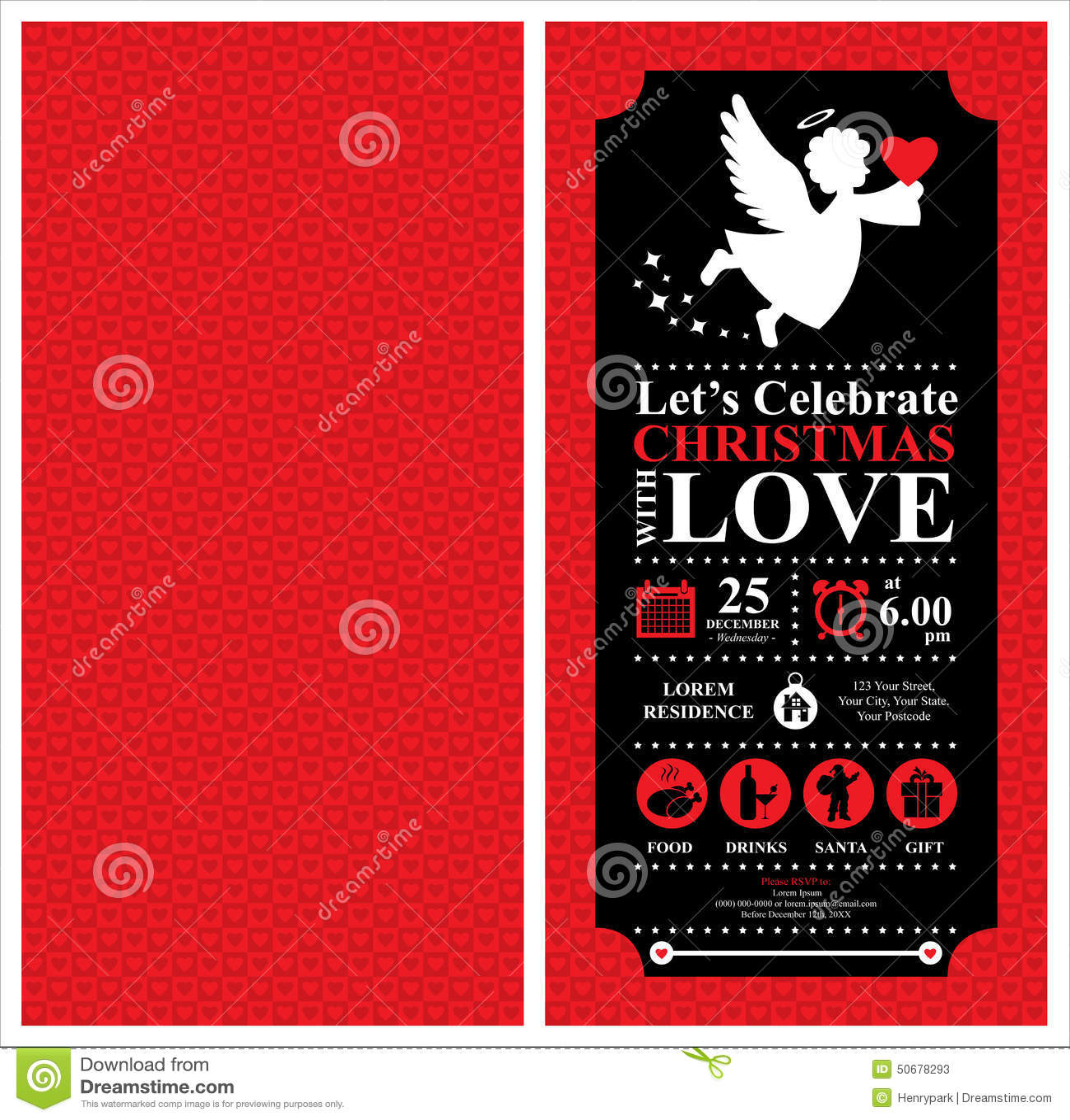 Christmas Angel Invitation Card Stock Vector Illustration