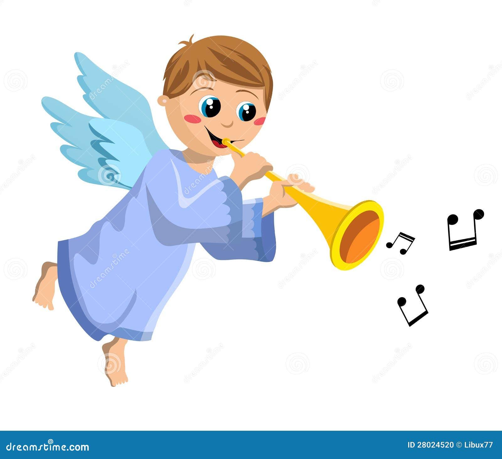 christmas angel kid playing trumpet stock photo image 28024520