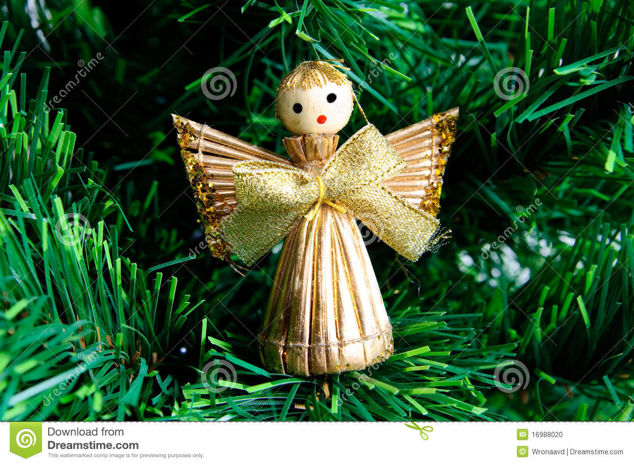Christmas Angel Made From Straw On Christmas Tree Stock Photo ...
