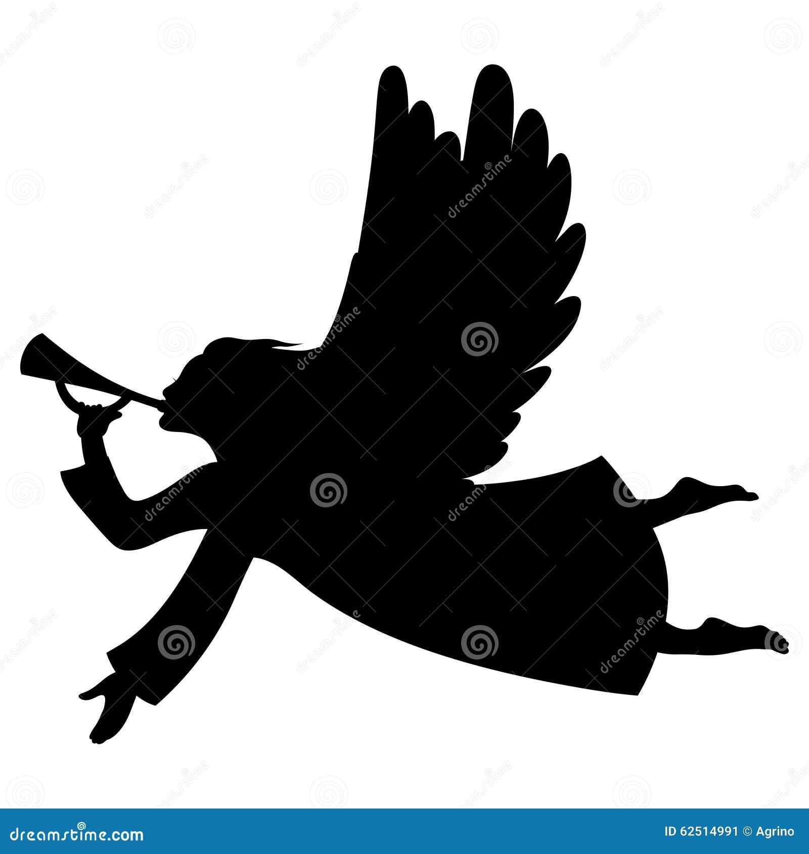 Christmas Angel Silhouette Stock Vector - Image: 62514991