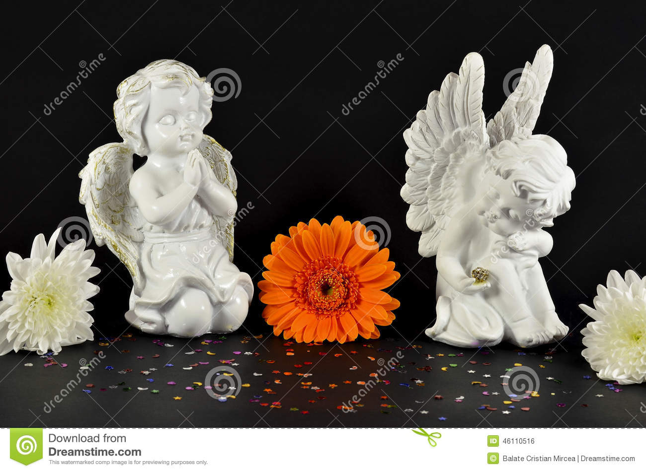 download christmas angels with flowers for gifts isolated on black stock photo image of - Black Christmas Angels