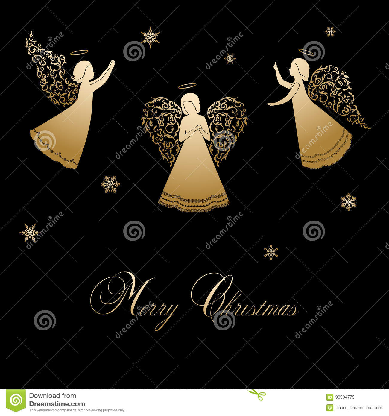christmas angels with ornamental wings - Black Christmas Angels