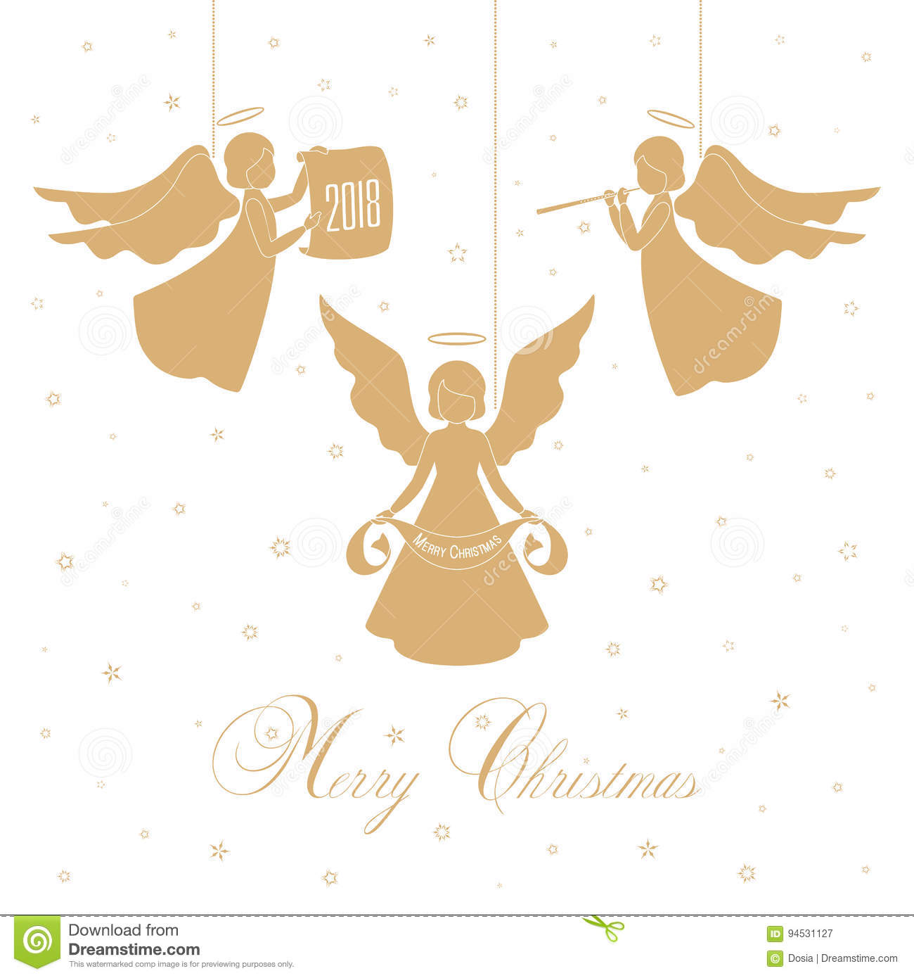 Christmas Angels and stars stock vector. Illustration of ...