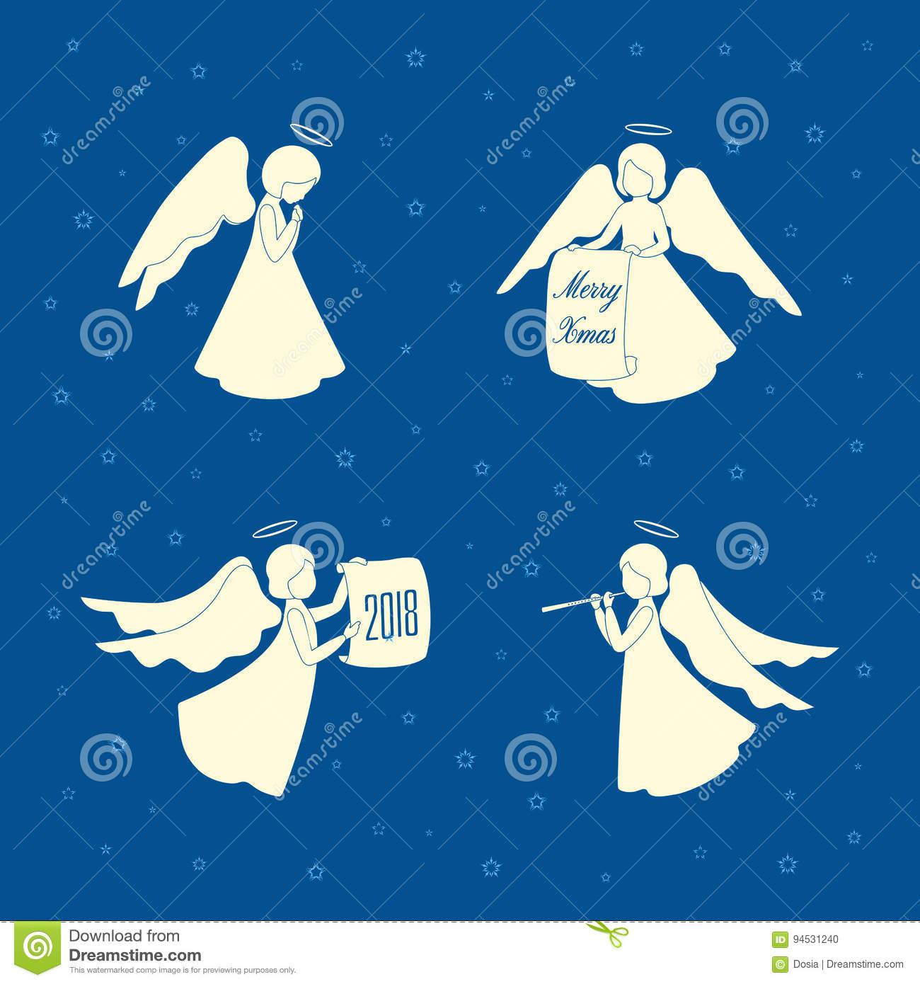 Christmas Angels.Christmas Angels And Stars Stock Vector Illustration Of