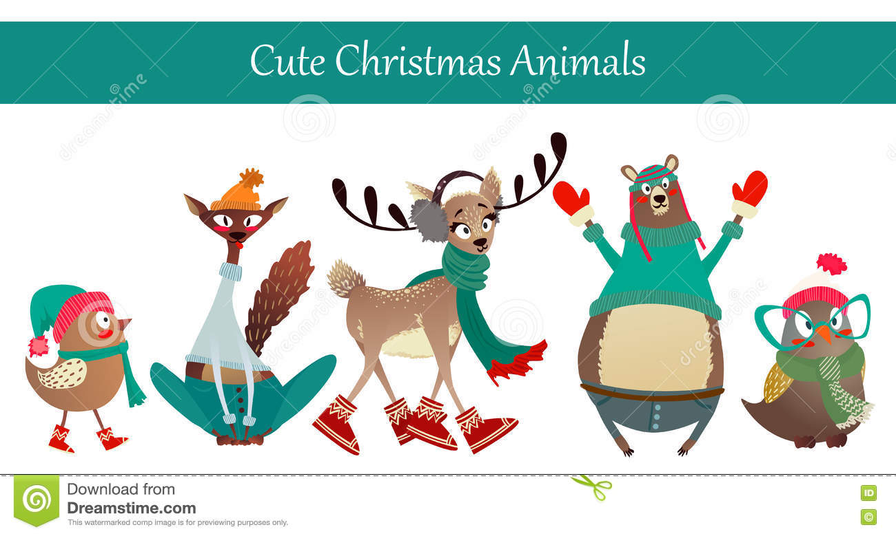 Merry Christmas Animals.Christmas Animals Wearing Warm Winter Clothes Stock Vector