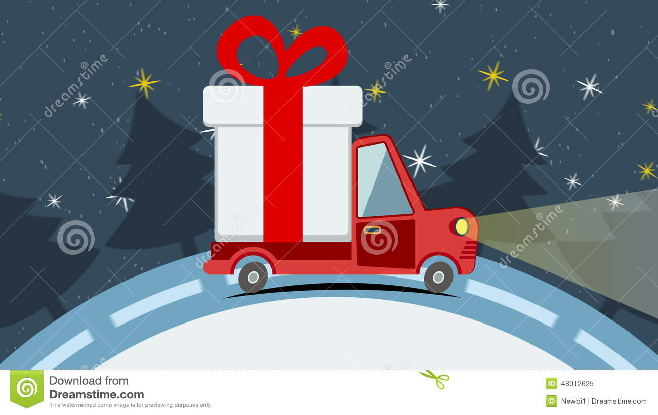 Christmas Animated Greeting Card With Gift Delivery Van Stock Video