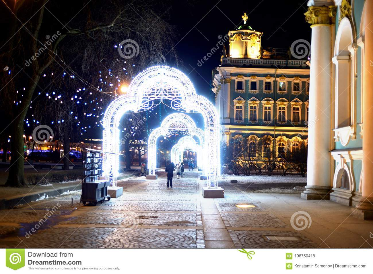 Christmas Arch Decorated With Garlands Editorial Stock Photo