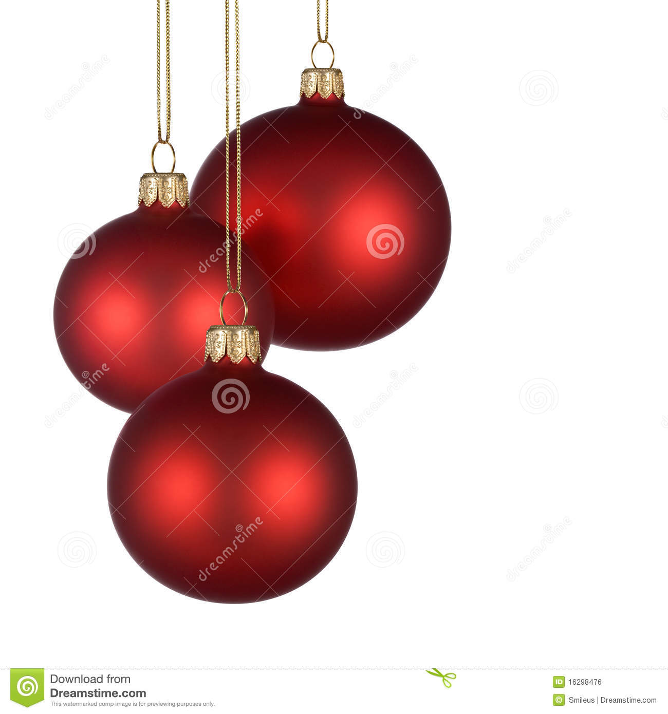 Christmas arrangement with three red baubles on pure white background ...