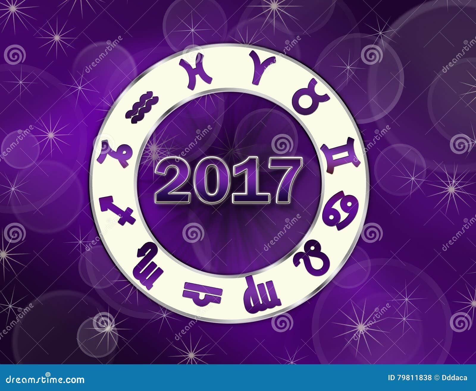 Christmas Astro 2017 Natal Chart With Horoscope Symbols Stock