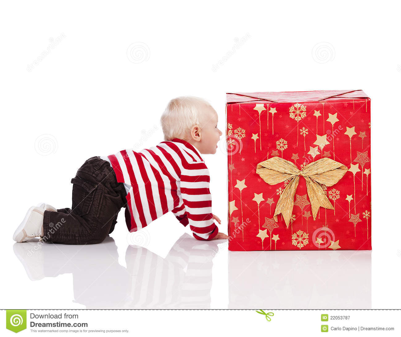Baby Boy Gifts Christmas : Christmas baby boy with gift box royalty free stock