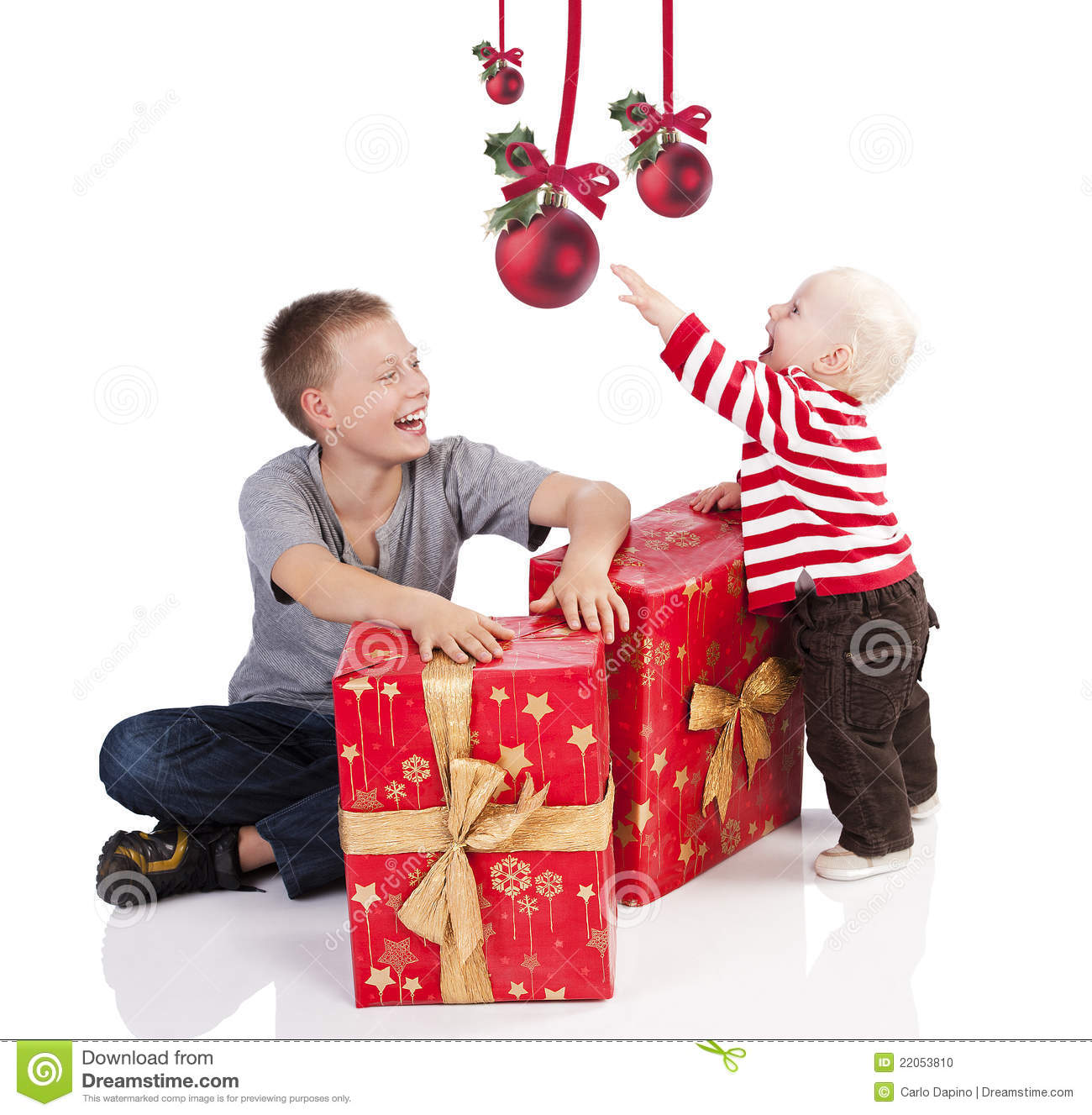 Baby Boy Gifts Christmas : Christmas baby boy with gift box brother stock photo
