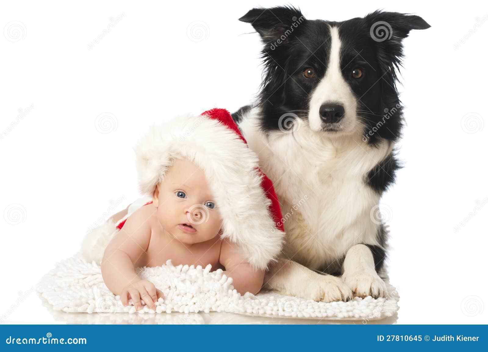 Christmas baby with dog