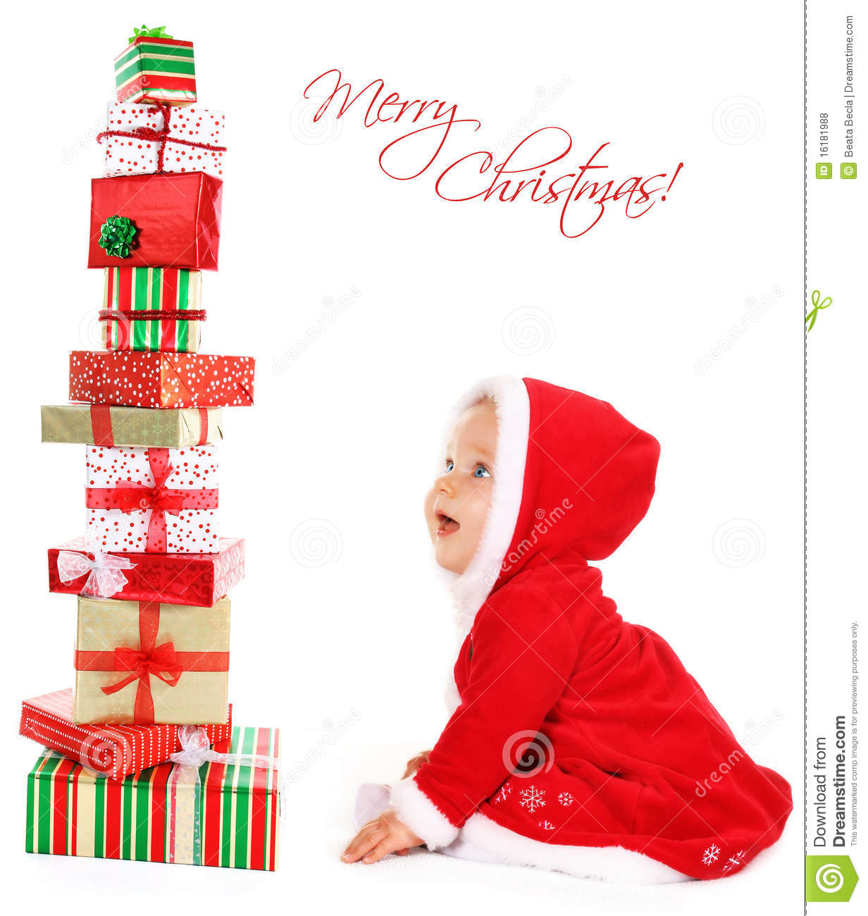 Cute Baby Gifts For Christmas : Christmas baby with gifts royalty free stock photos