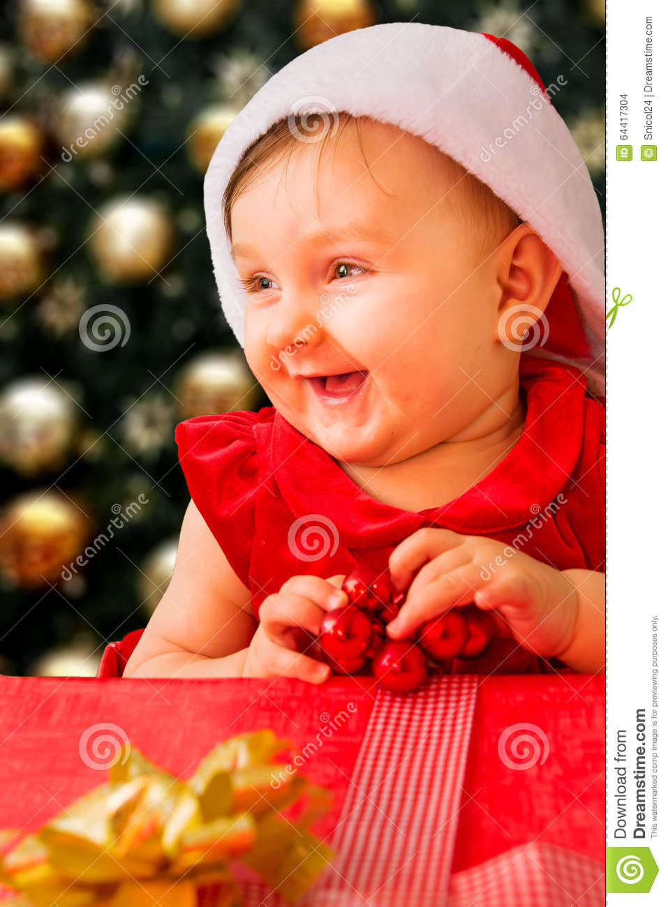d7a254caf Christmas baby girl stock photo. Image of look
