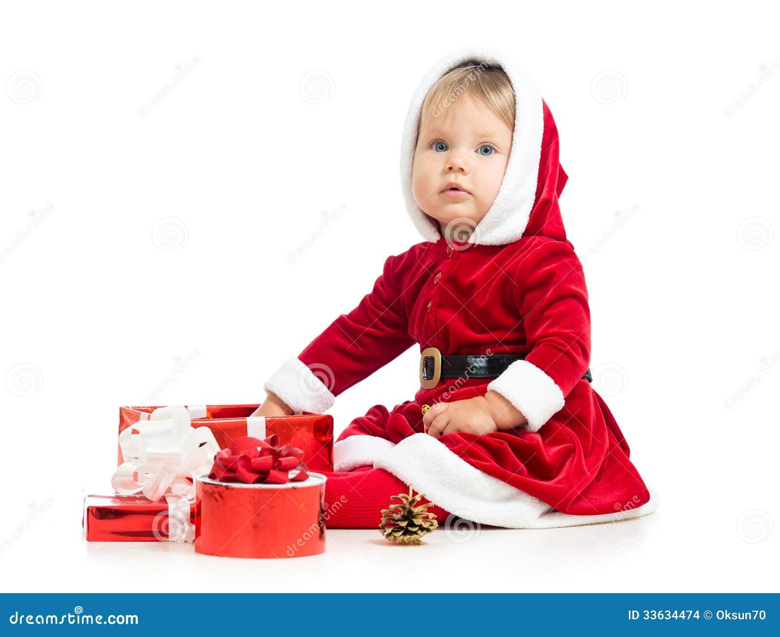 Christmas Baby Girl With Gift Box Stock Photo - Image of hood, baby ...