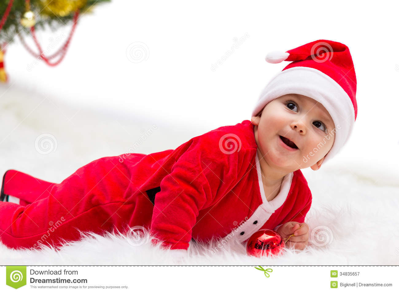 Christmas Baby Stock Image Image Of Baby Little Dressed 34835657