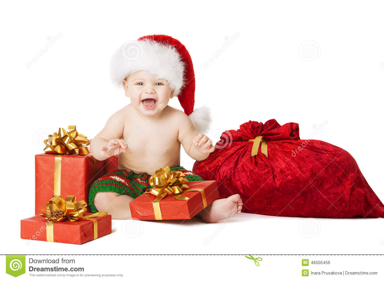 Christmas Baby Kids, Child Present Gift Box And Santa Bag