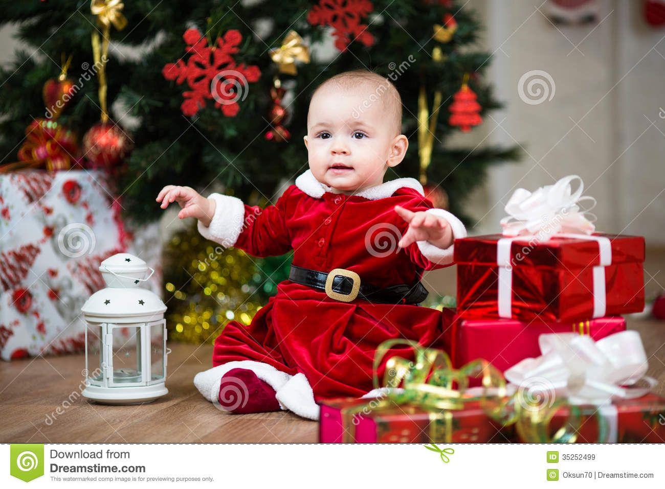 Christmas Baby With Lamp Stock Image Image Of Sweet 35252499