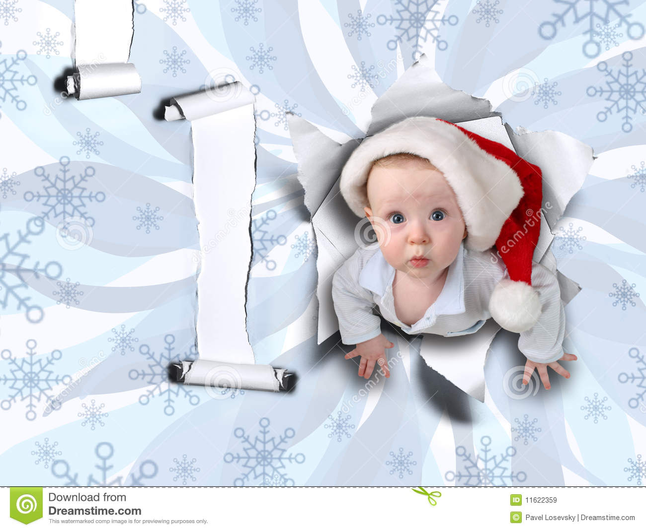 Christmas baby from ragged wall