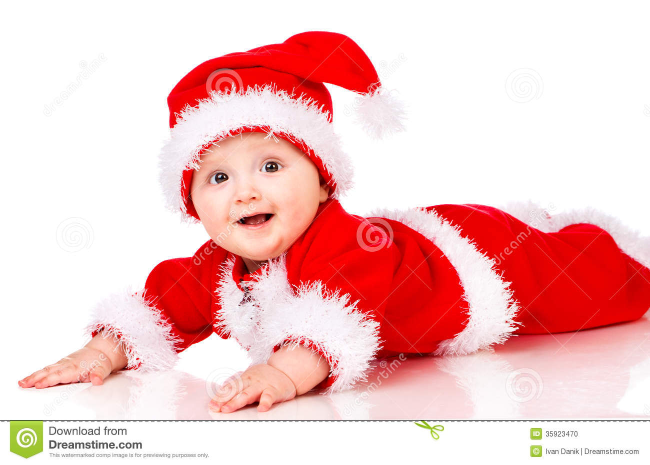 Christmas Baby In Santa Claus Clothes Stock Photo Image