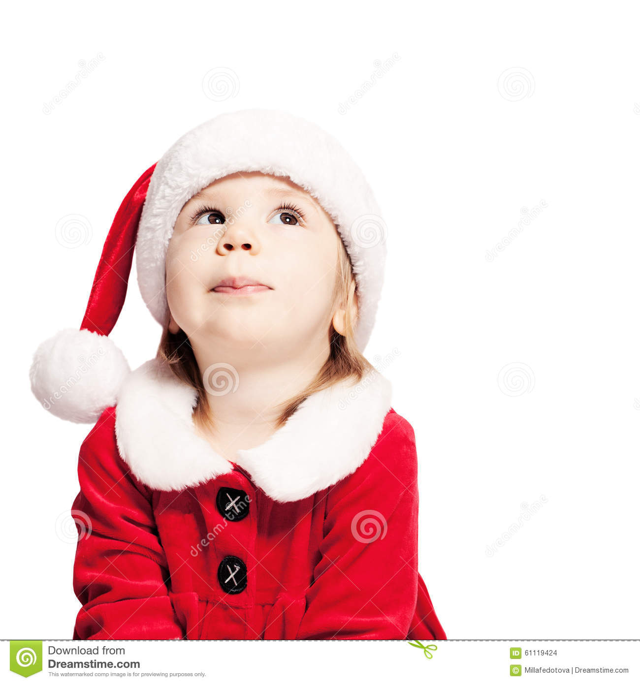 64f766f87d7 Christmas Baby In Santa Hat Looking Up Stock Photo - Image of ...