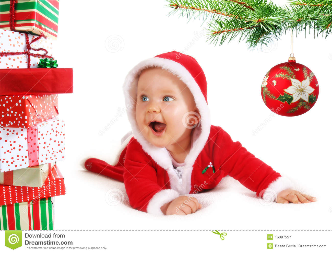 Christmas Baby Unders A Tree With Gifts Stock Image - Image of ...