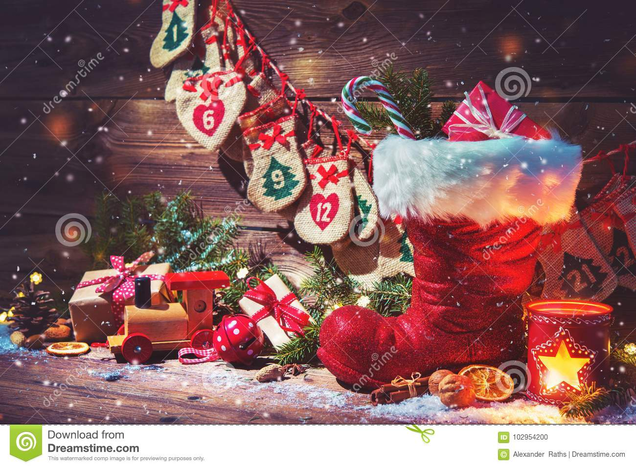 Download Advent Calendar And Santa`s Shoe With Gifts On Rustic Wooden Bac Stock Photo - Image of nicholas, greeting: 102954200