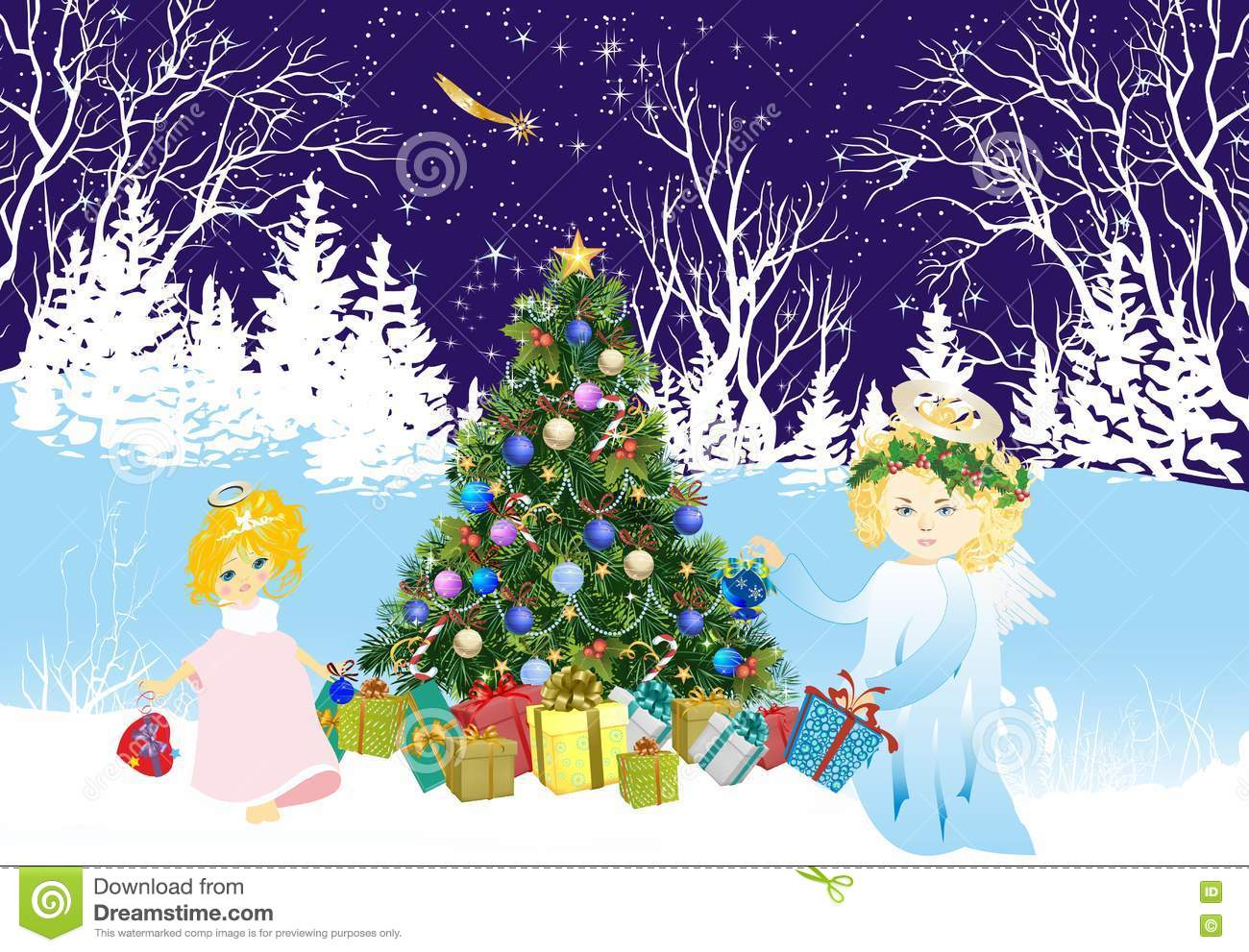 Angels Christmas Background.Christmas Background With Angels And Christmas Tree Stock
