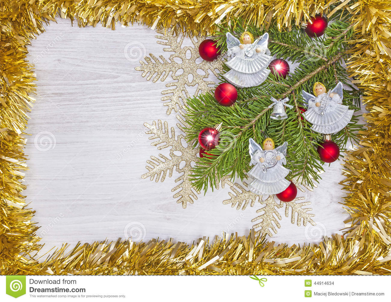 Angels Christmas Background.Christmas Background With Angels Decoration On A Wooden