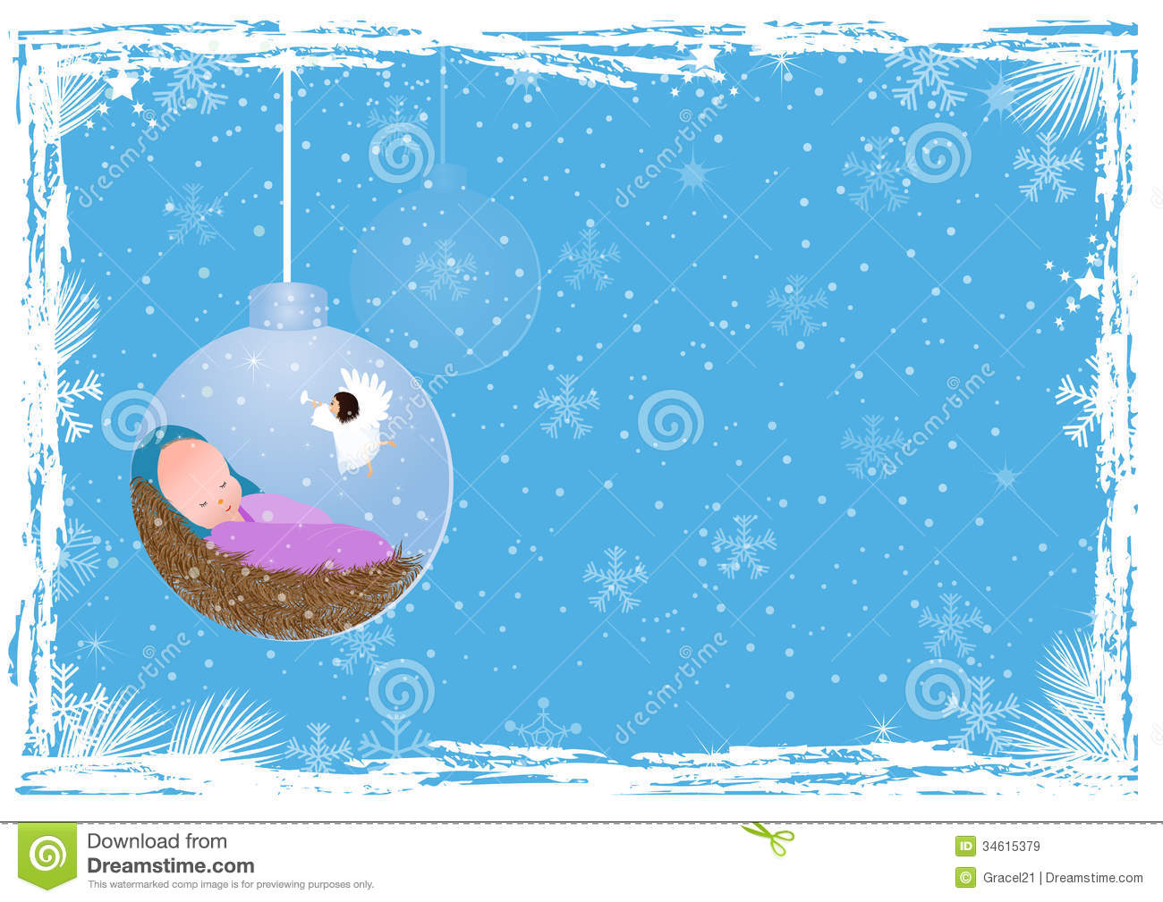 Baby Jesus In A Manger Christmas Background With Vector Illustration