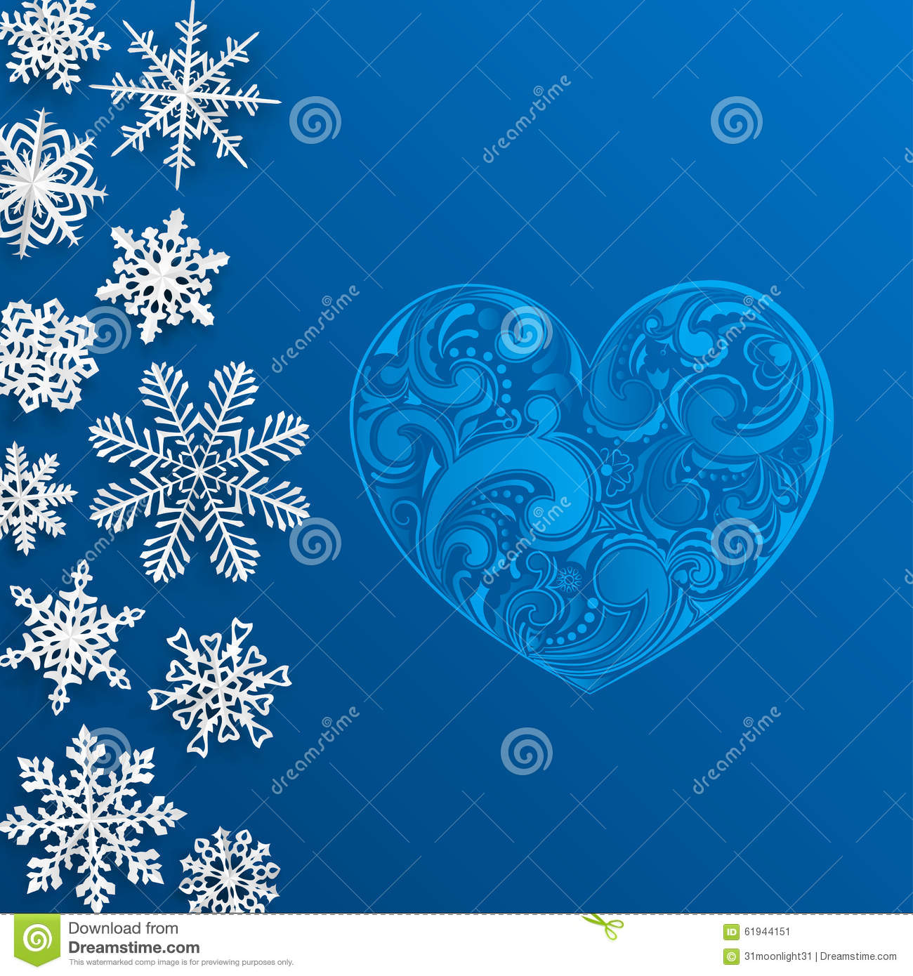 Christmas background with big heart and snowflakes stock