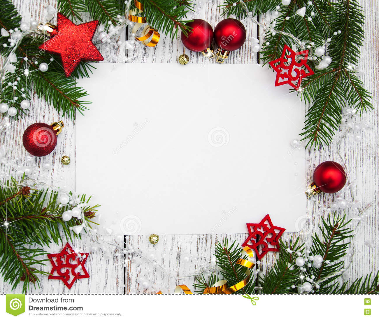 Christmas Background , Blank Paper With Decoration Stock