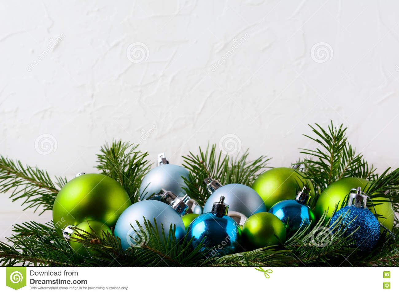 Download Christmas Background With Blue Green And Glitter Ornaments Stock Photo