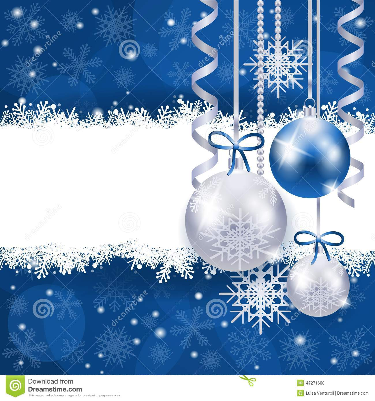 Christmas Background In Blue And Silver With Copy Space Stock ...