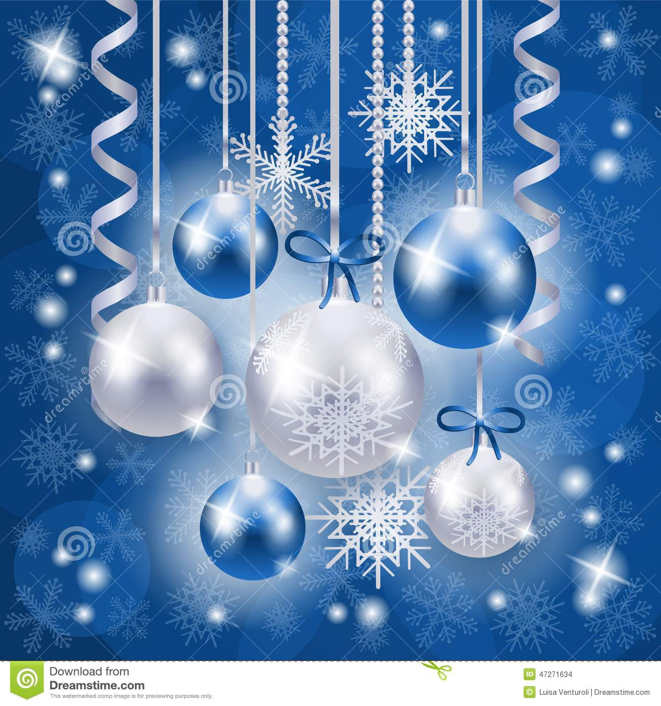 christmas background in blue and silver on snowflakes background - Blue And Silver Christmas