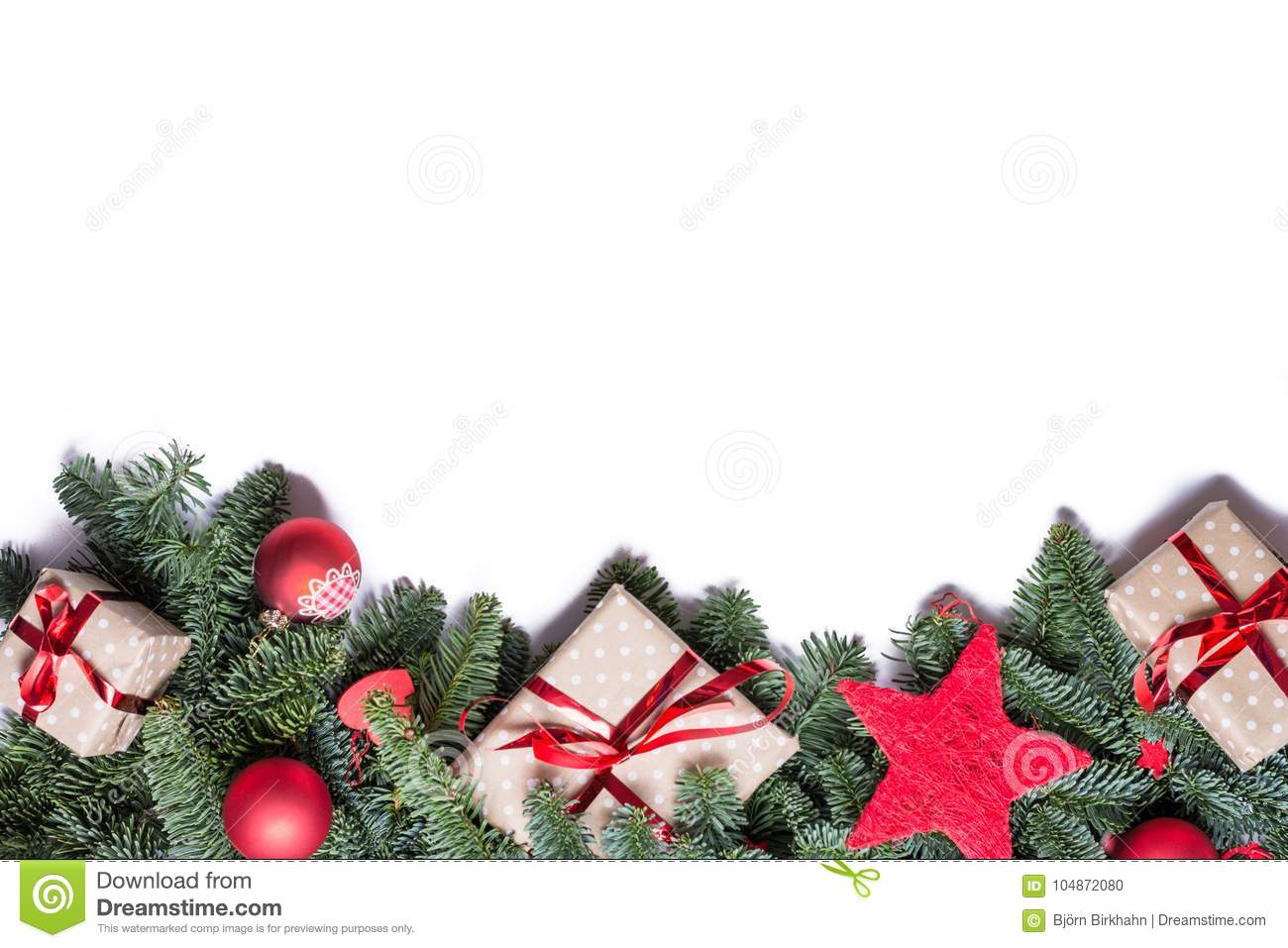 Christmas background border at the bottom with fir branches and