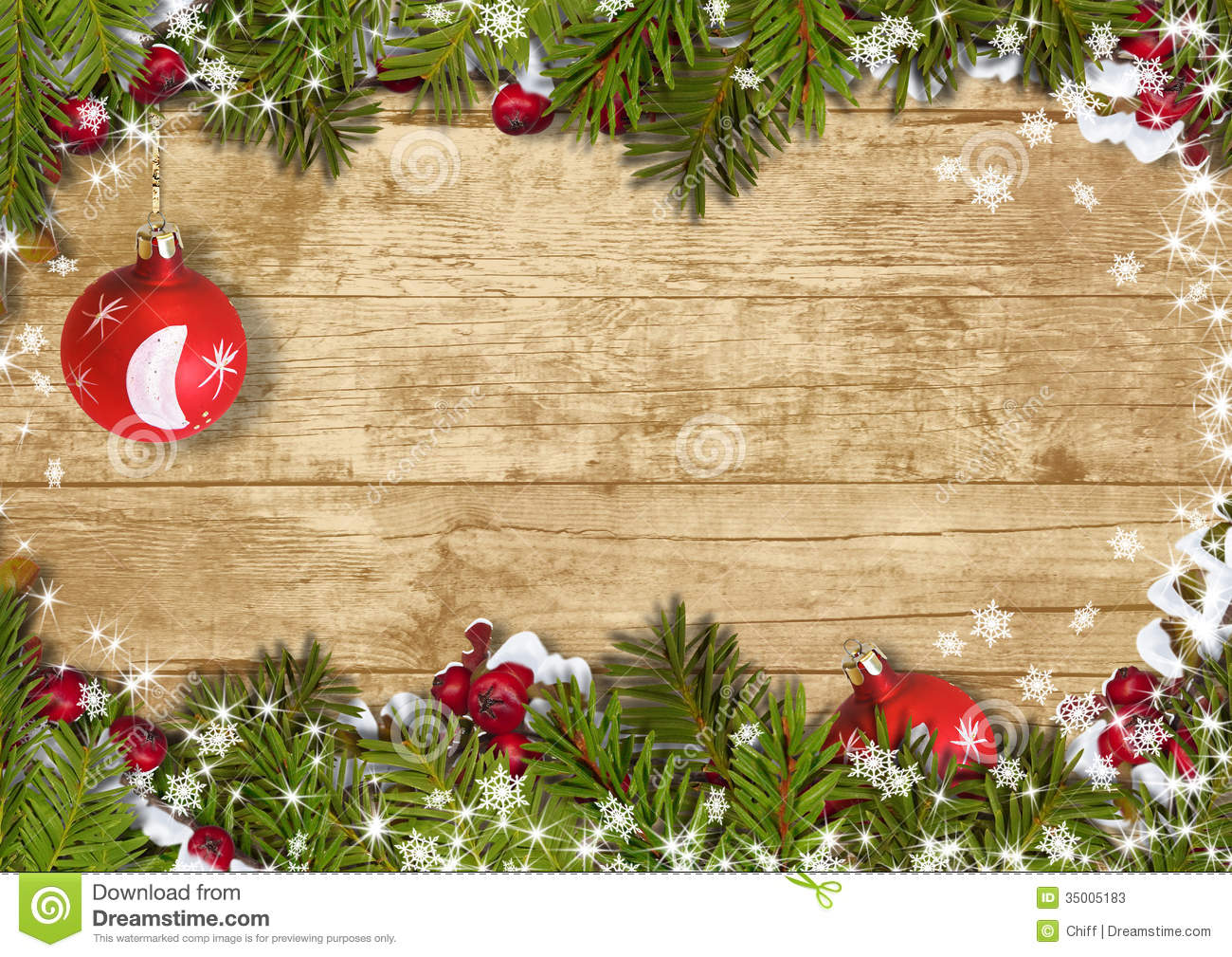 christmas background with a border of fir branches ball holly stock