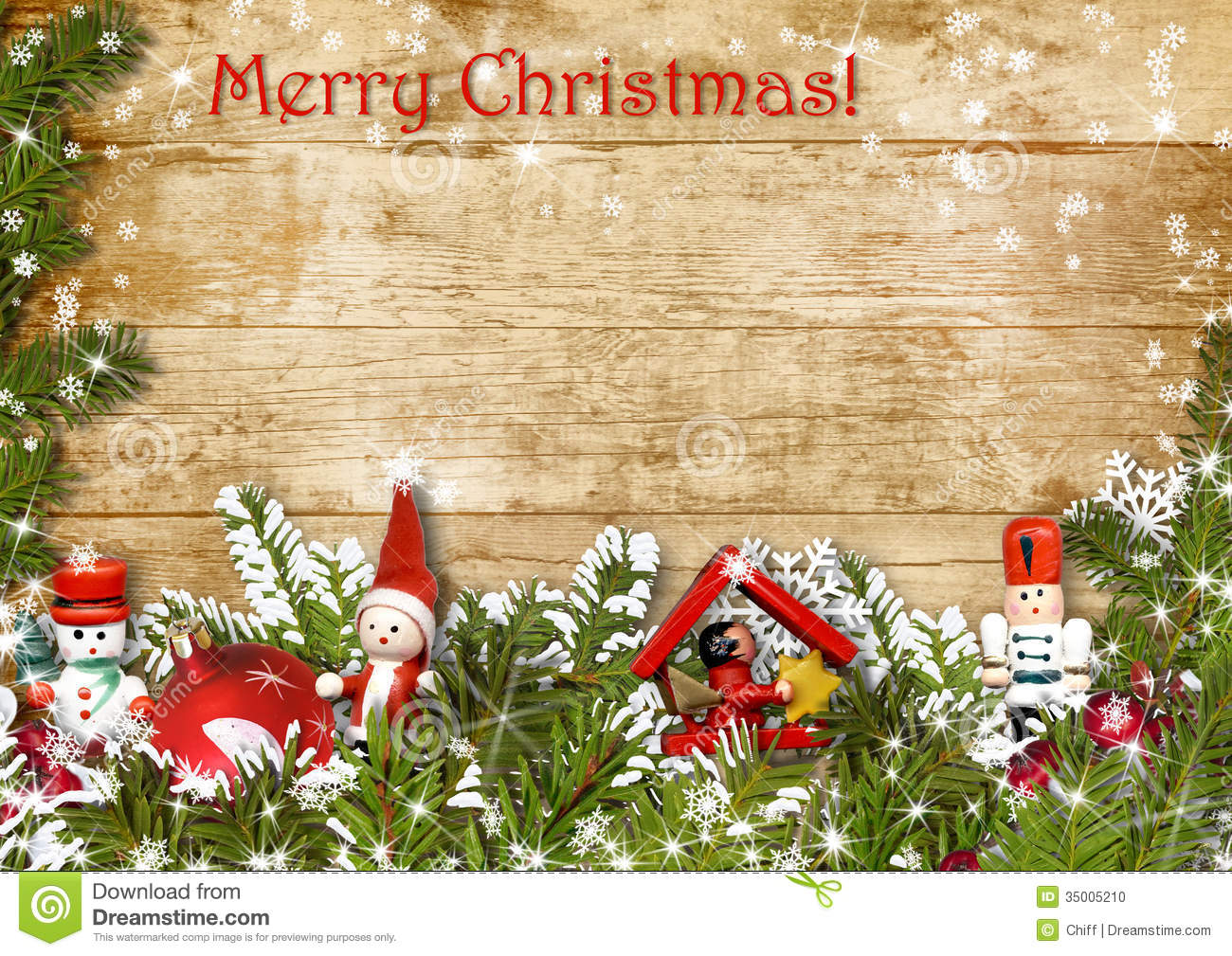 Christmas Background With Border Of Fir Branches Stock