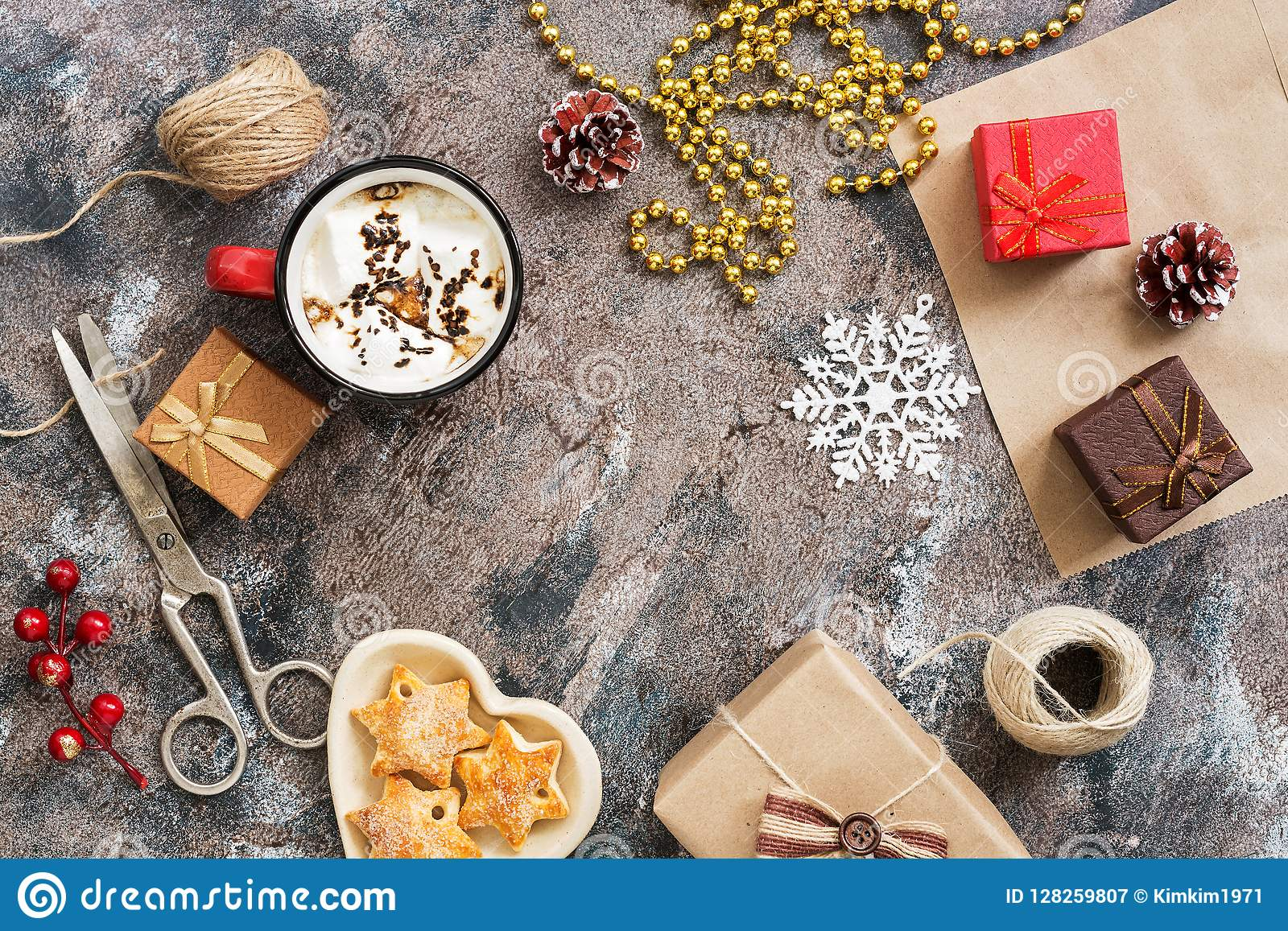 Christmas Background With Boxes Of Presents, Hot Chocolate, Cookies ...