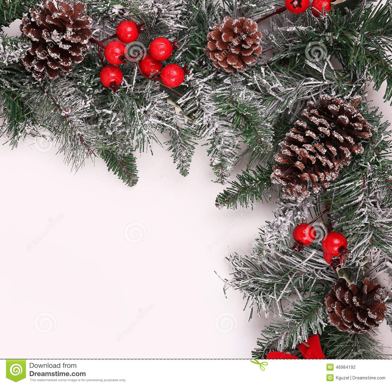 Christmas Tree With Pine Cones And Berries: Christmas Background. Branch Of Christmas Tree With Pine