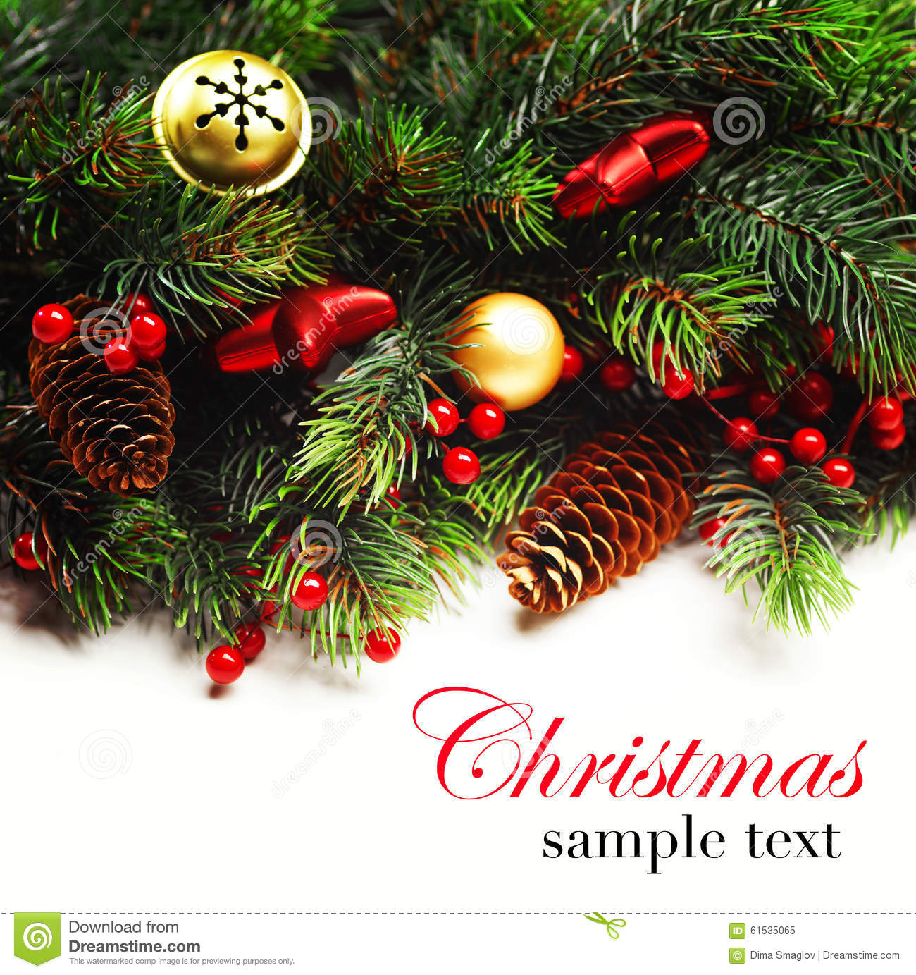 Christmas background boarder with fir tree