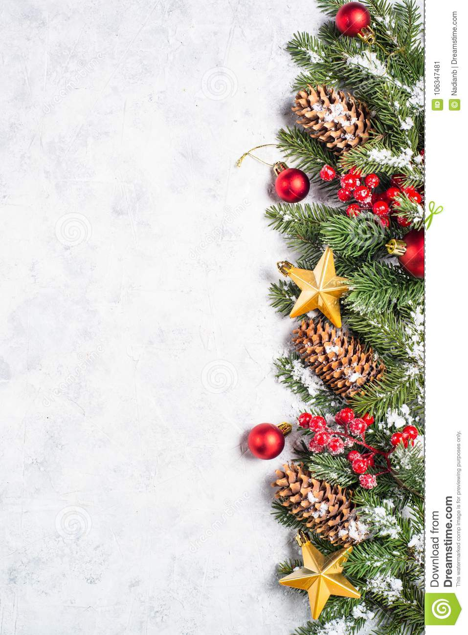 Christmas background. with fir tree and decorations.