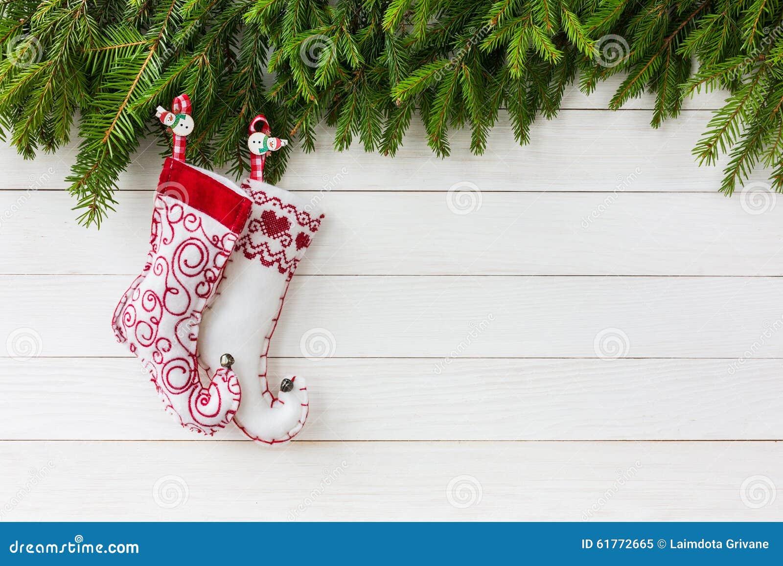 Christmas Background Christmas Socks On White Wooden