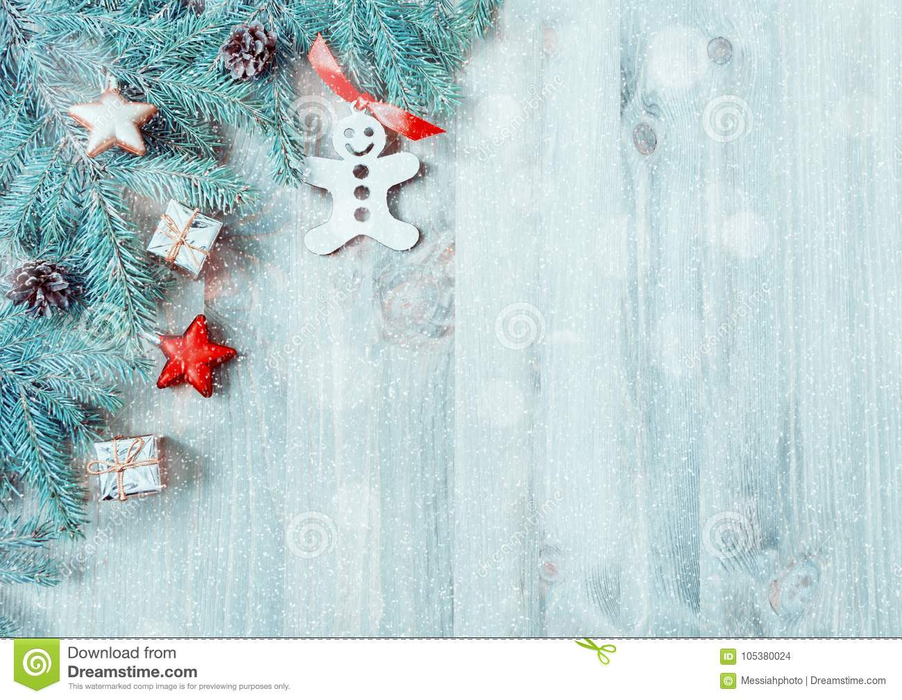 christmas background christmas toys blue fir tree branches on the wooden background christmas still life free space for text - Sign Up For Free Christmas Toys