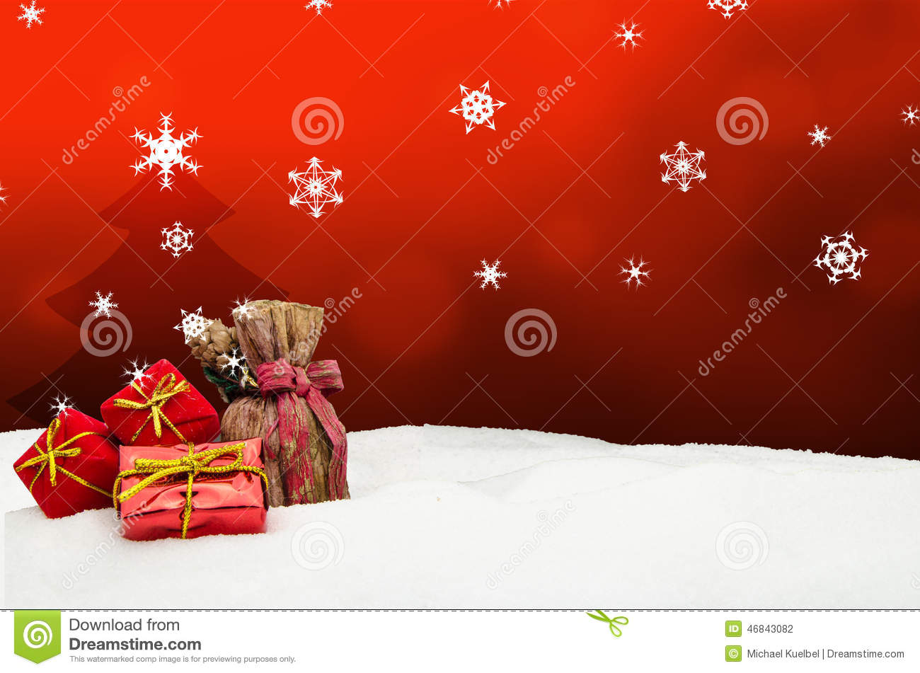 Christmas background tree gifts red snow