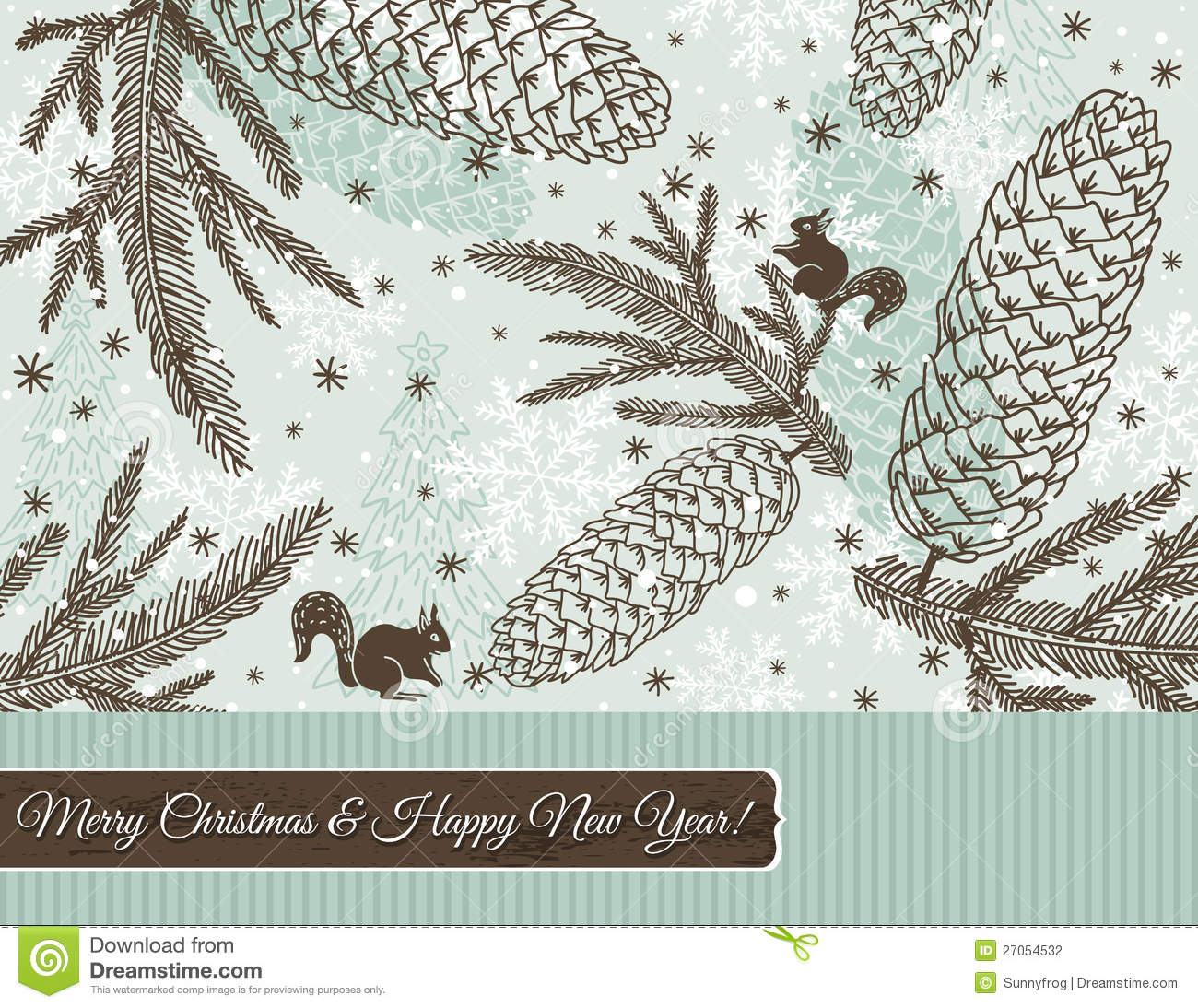 Christmas background with cone and snowflakes